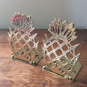 Vintage Brass Pineapples Bookend Holders